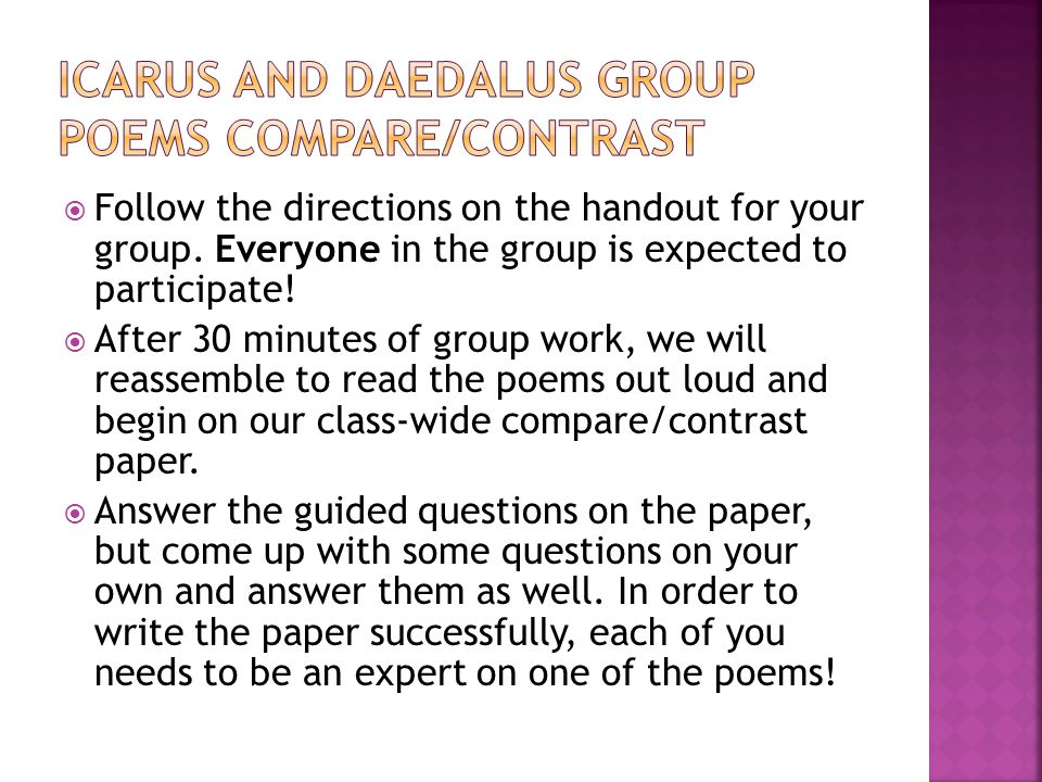  Follow the directions on the handout for your group. Everyone in the group is expected to participate!  After 30 minutes of group work, we will rea
