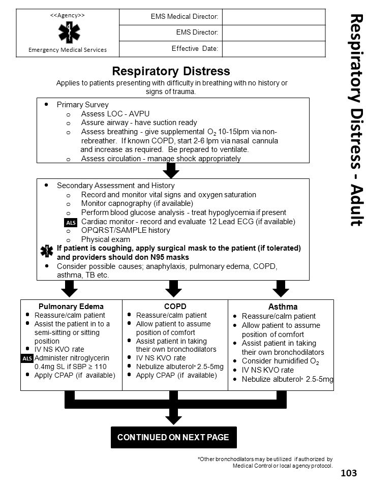Respiratory Distress - Adult 103 Respiratory Distress Applies to patients presenting with difficulty in breathing with no history or signs of trauma.