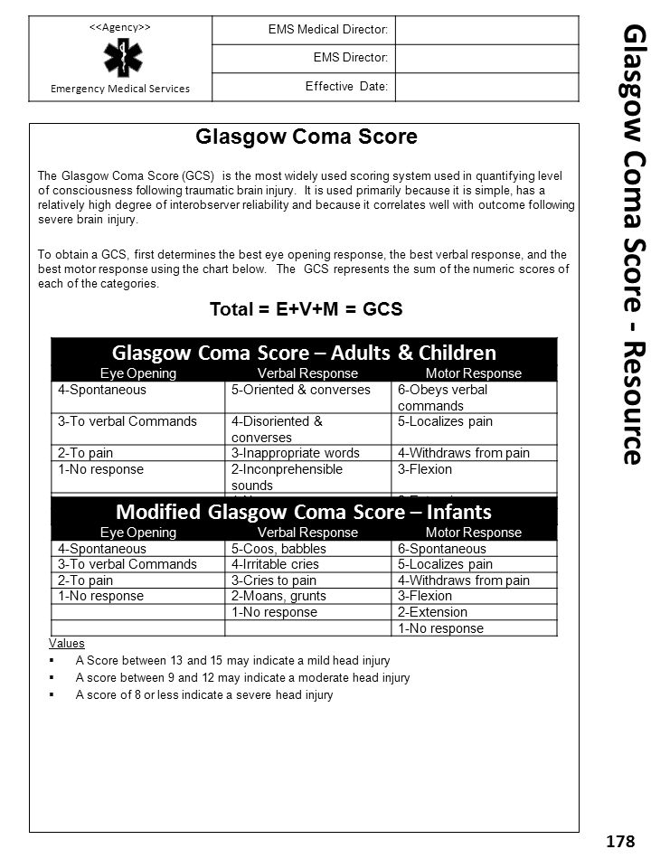 Glasgow Coma Score The Glasgow Coma Score (GCS) is the most widely used scoring system used in quantifying level of consciousness following traumatic