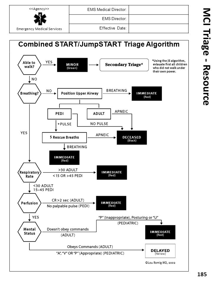 MCI Triage - Resource 185 Combined START/JumpSTART Triage Algorithm (Red) (Yellow) (Black) (Green) > Emergency Medical Services EMS Medical Director: