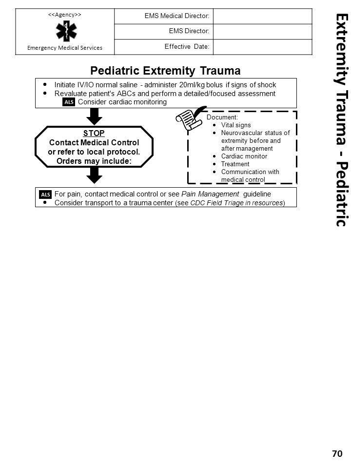 Extremity Trauma - Pediatric 70 Pediatric Extremity Trauma Document:  Vital signs  Neurovascular status of extremity before and after management  C