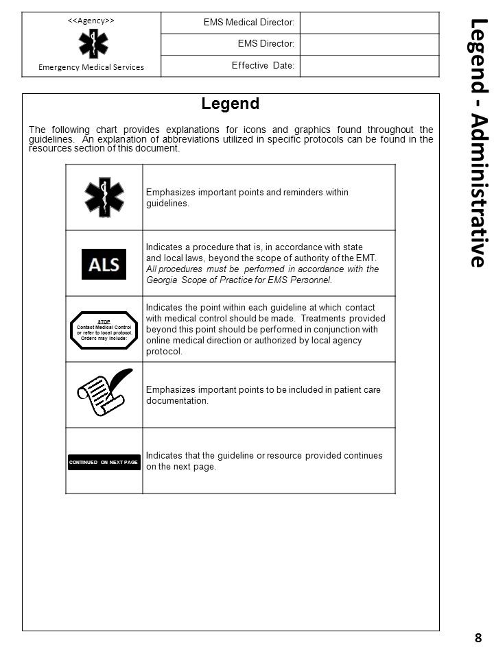 Legend The following chart provides explanations for icons and graphics found throughout the guidelines. An explanation of abbreviations utilized in s