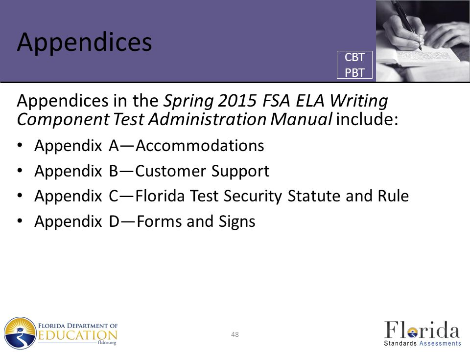 Appendices Appendices in the Spring 2015 FSA ELA Writing Component Test Administration Manual include: Appendix A—Accommodations Appendix B—Customer Support Appendix C—Florida Test Security Statute and Rule Appendix D—Forms and Signs 48 CBT PBT