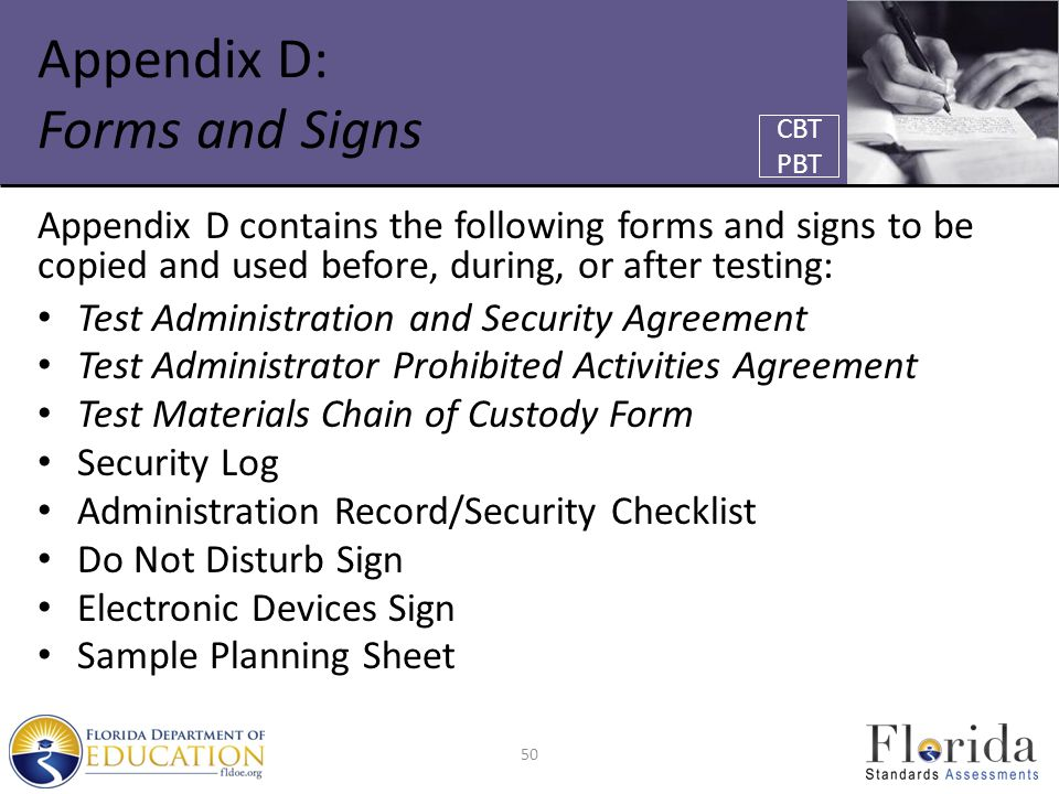 Appendix D: Forms and Signs Appendix D contains the following forms and signs to be copied and used before, during, or after testing: Test Administrat