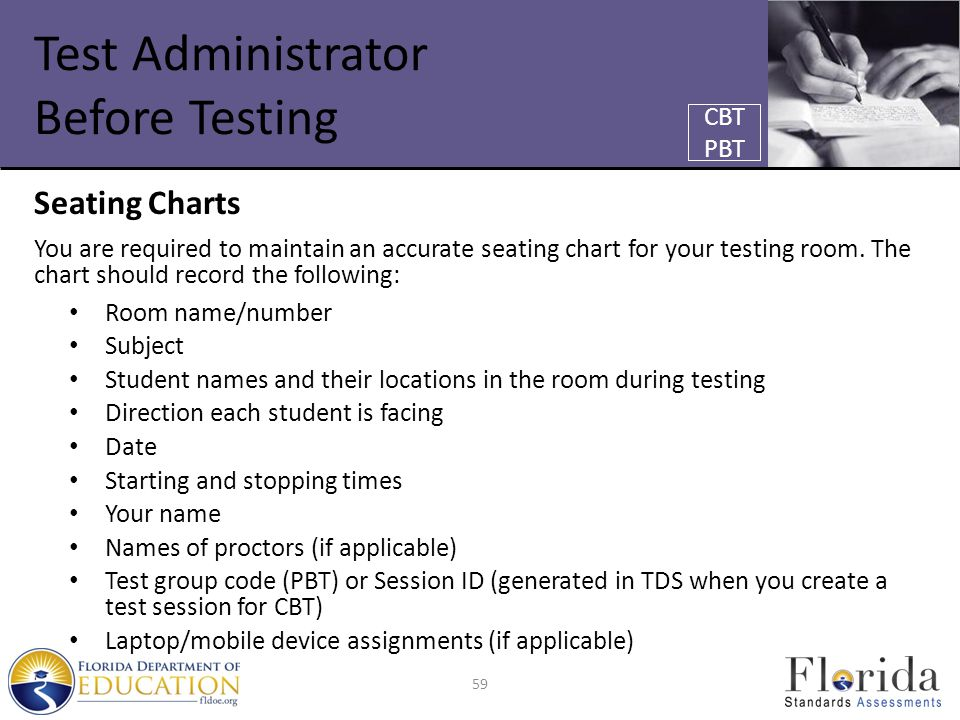 Test Administrator Before Testing Seating Charts You are required to maintain an accurate seating chart for your testing room.