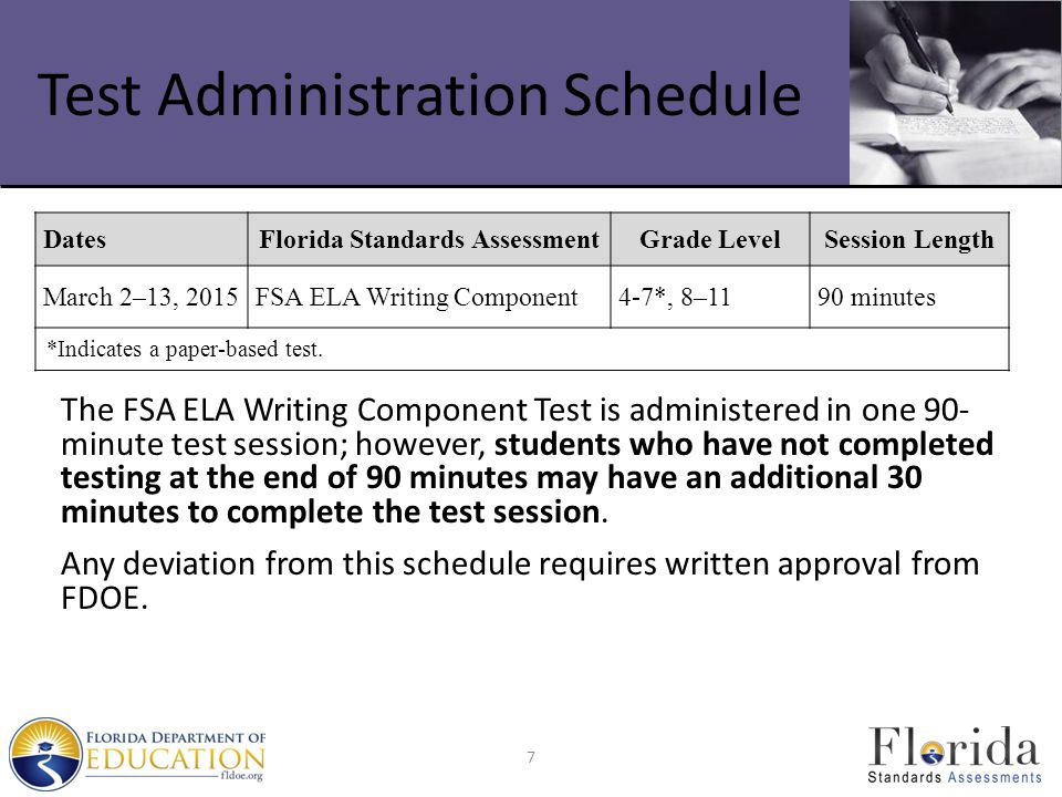 Test Administration Schedule The FSA ELA Writing Component Test is administered in one 90- minute test session; however, students who have not completed testing at the end of 90 minutes may have an additional 30 minutes to complete the test session.
