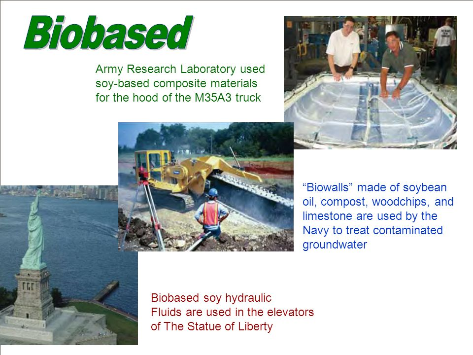 Army Research Laboratory used soy-based composite materials for the hood of the M35A3 truck Biobased soy hydraulic Fluids are used in the elevators of The Statue of Liberty Biowalls made of soybean oil, compost, woodchips, and limestone are used by the Navy to treat contaminated groundwater
