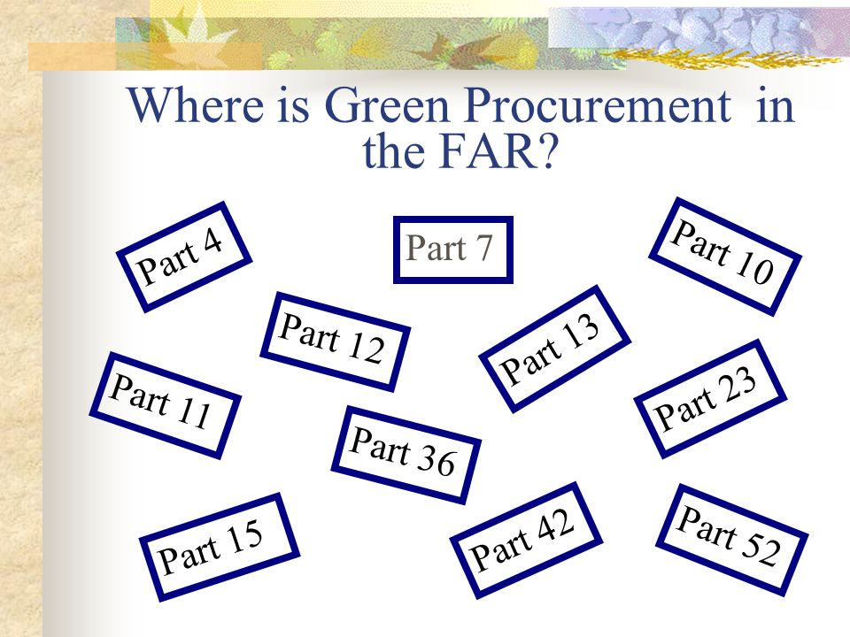 Where is Green Procurement in the FAR.