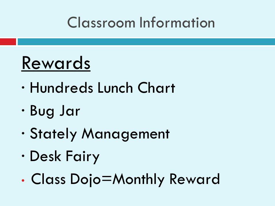 Classroom Information Rewards · Hundreds Lunch Chart · Bug Jar · Stately Management · Desk Fairy Class Dojo=Monthly Reward