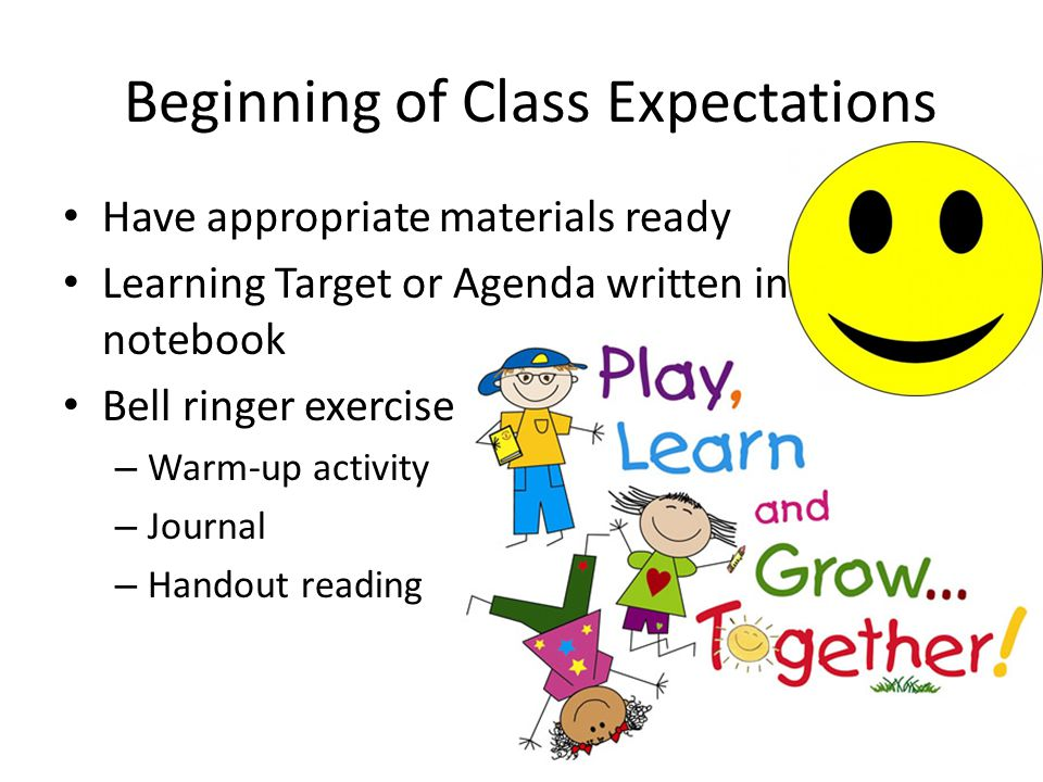 Beginning of Class Expectations Have appropriate materials ready Learning Target or Agenda written in notebook Bell ringer exercise – Warm-up activity