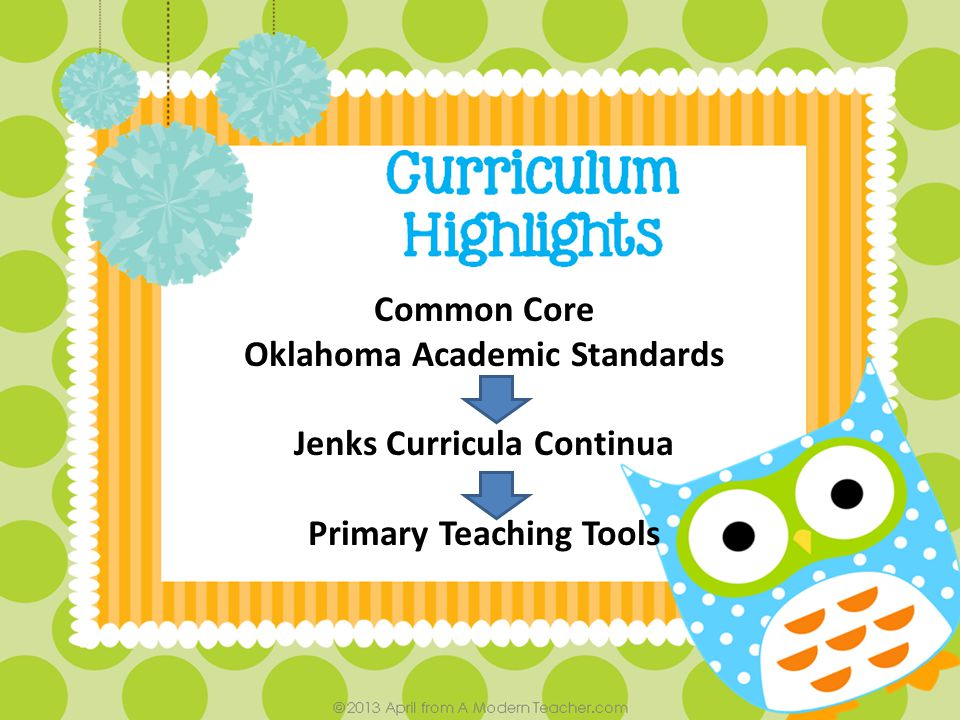 Common Core Oklahoma Academic Standards Jenks Curricula Continua Primary Teaching Tools