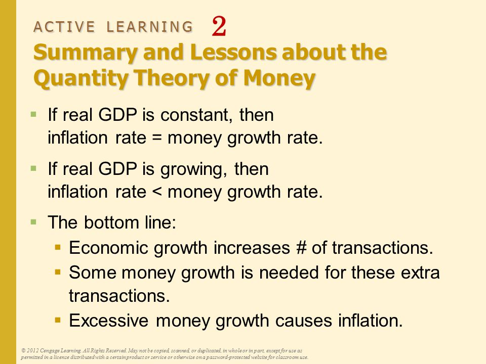 ACTIVE LEARNING Summary and Lessons about the Quantity Theory of Money ACTIVE LEARNING 2 Summary and Lessons about the Quantity Theory of Money  If r