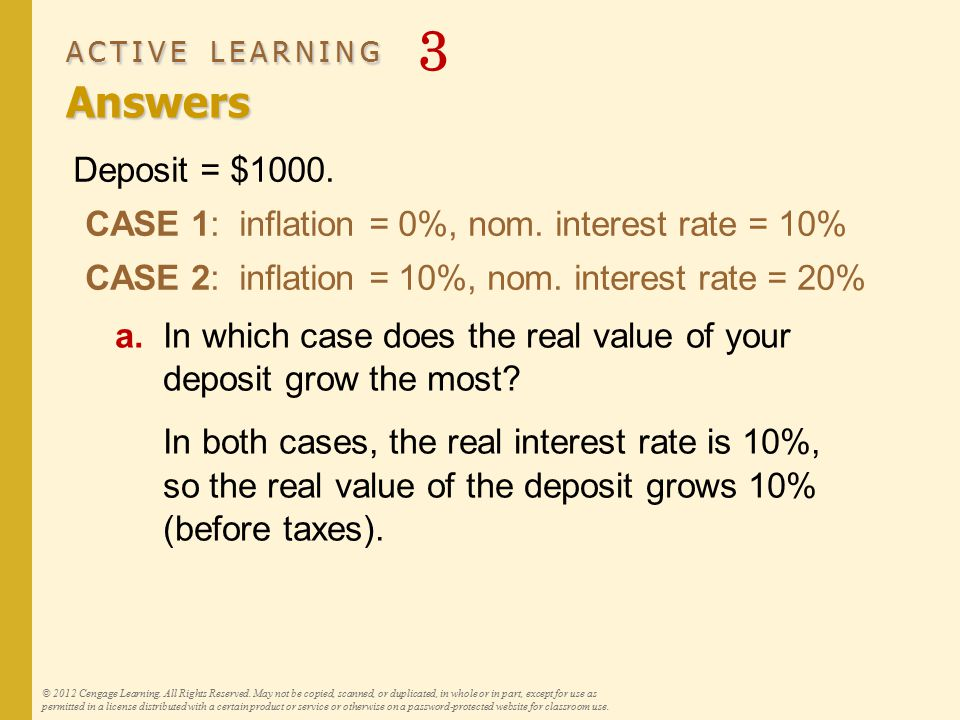 ACTIVE LEARNING Answers ACTIVE LEARNING 3 Answers © 2012 Cengage Learning. All Rights Reserved. May not be copied, scanned, or duplicated, in whole or