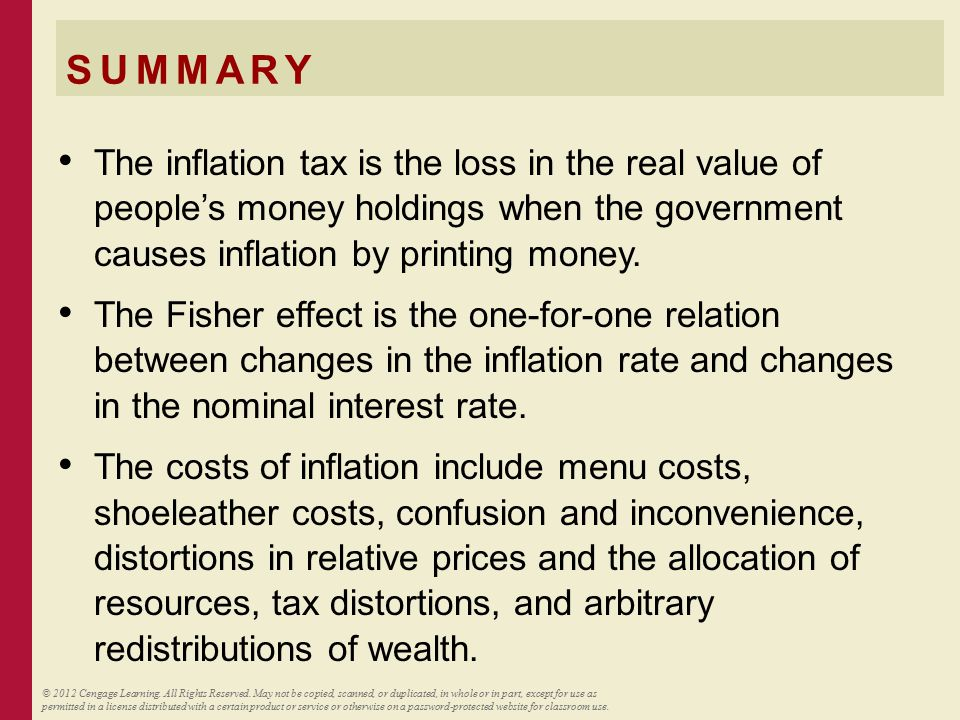 SUMMARY The inflation tax is the loss in the real value of people's money holdings when the government causes inflation by printing money. The Fisher