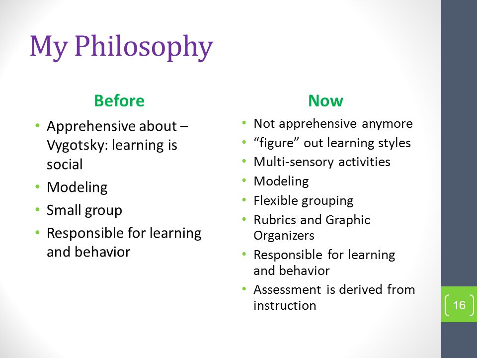 My Philosophy Before Apprehensive about – Vygotsky: learning is social Modeling Small group Responsible for learning and behavior Now Not apprehensive anymore figure out learning styles Multi-sensory activities Modeling Flexible grouping Rubrics and Graphic Organizers Responsible for learning and behavior Assessment is derived from instruction 16