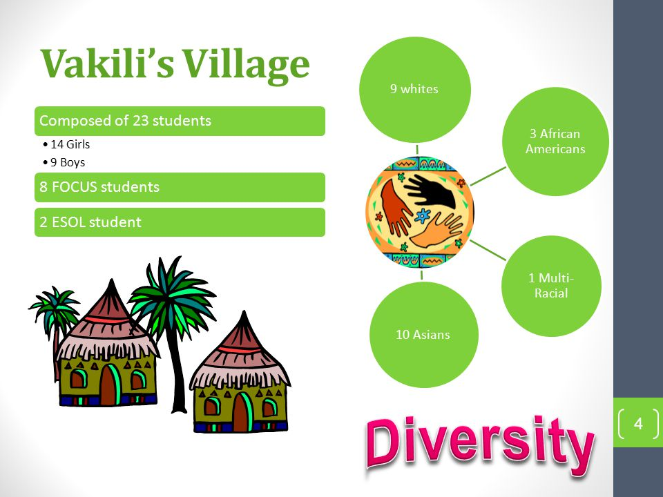 Vakili's Village Composed of 23 students 14 Girls 9 Boys 8 FOCUS students2 ESOL student 4 9 whites 3 African Americans 1 Multi- Racial 10 Asians