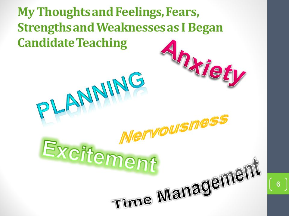 My Thoughts and Feelings, Fears, Strengths and Weaknesses as I Began Candidate Teaching 6