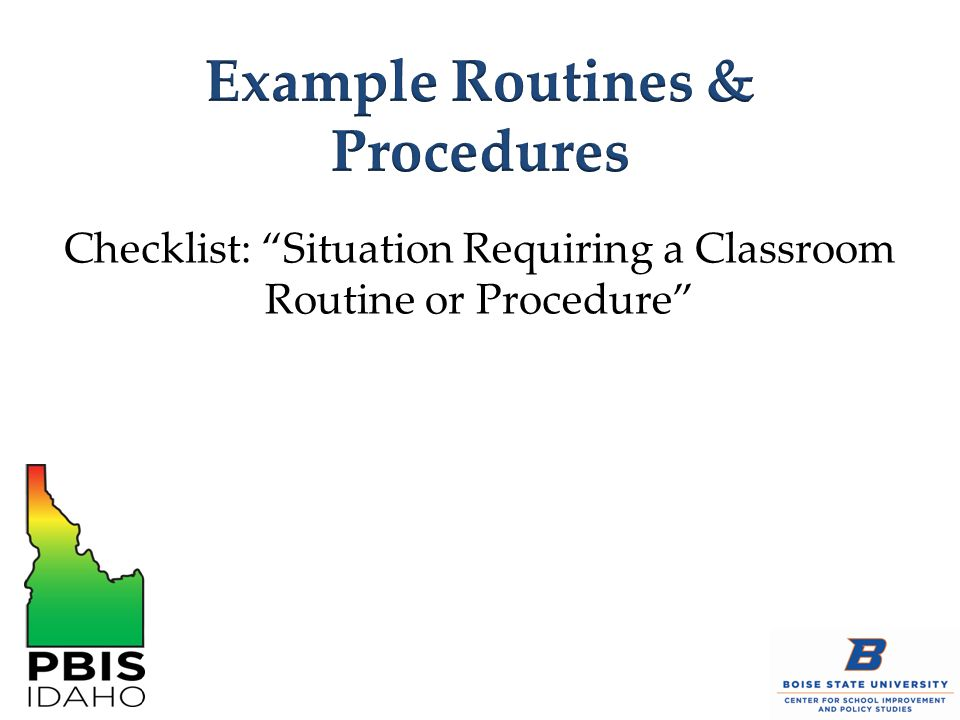 "Checklist: ""Situation Requiring a Classroom Routine or Procedure"""