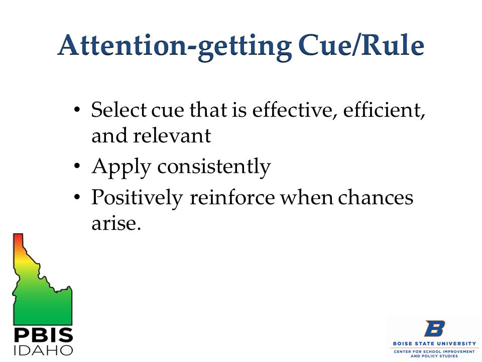 Select cue that is effective, efficient, and relevant Apply consistently Positively reinforce when chances arise.