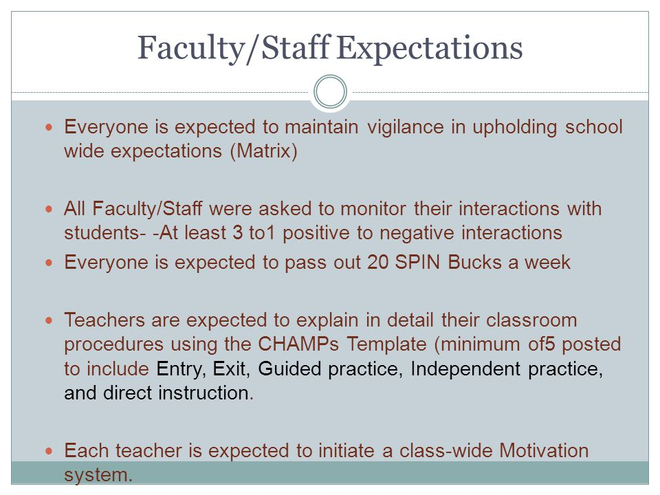 Faculty/Staff Expectations Everyone is expected to maintain vigilance in upholding school wide expectations (Matrix) All Faculty/Staff were asked to m