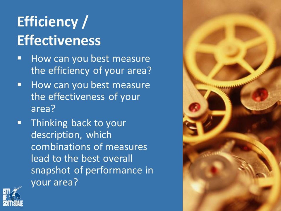 Efficiency / Effectiveness  How can you best measure the efficiency of your area?  How can you best measure the effectiveness of your area?  Thinki