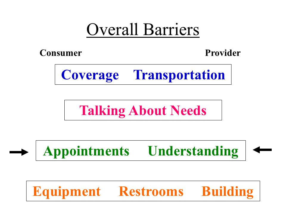 Overall Barriers Coverage Transportation Talking About Needs Appointments Understanding Equipment Restrooms Building ConsumerProvider