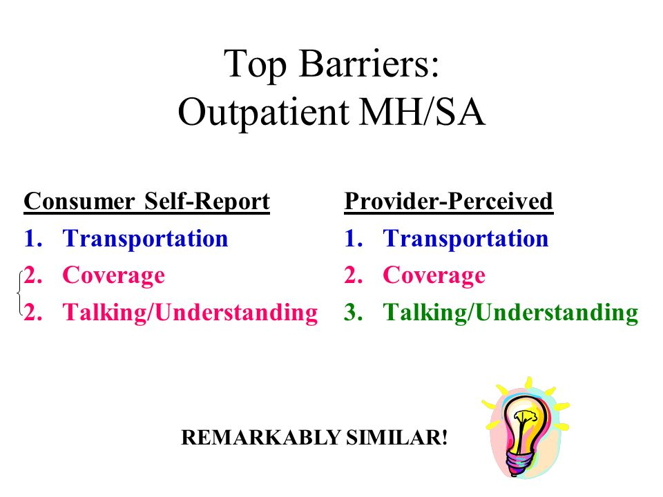Top Barriers: Outpatient MH/SA Consumer Self-Report 1.Transportation 2.Coverage 2.