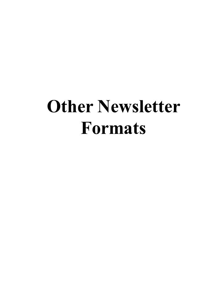 Other Newsletter Formats
