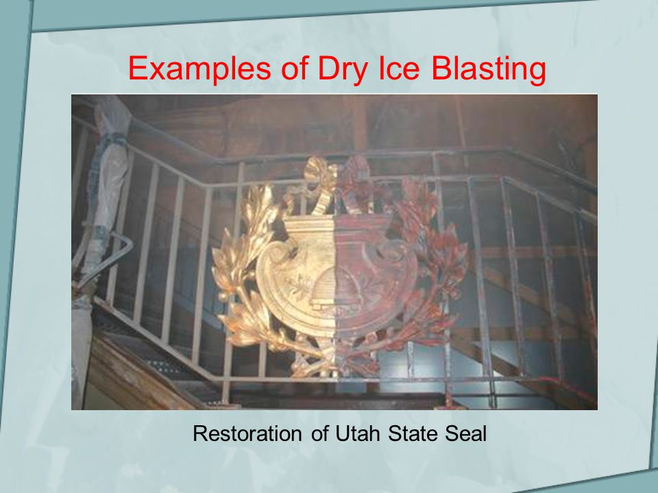 Examples of Dry Ice Blasting Restoration of Utah State Seal