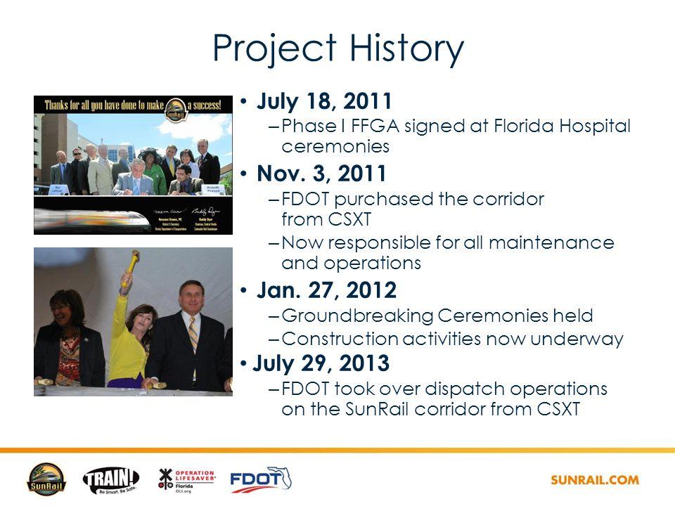 Project History July 18, 2011 – Phase I FFGA signed at Florida Hospital ceremonies Nov.