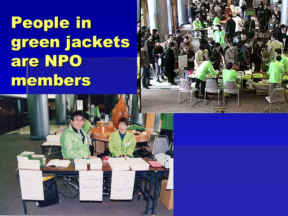 People in green jackets are NPO members