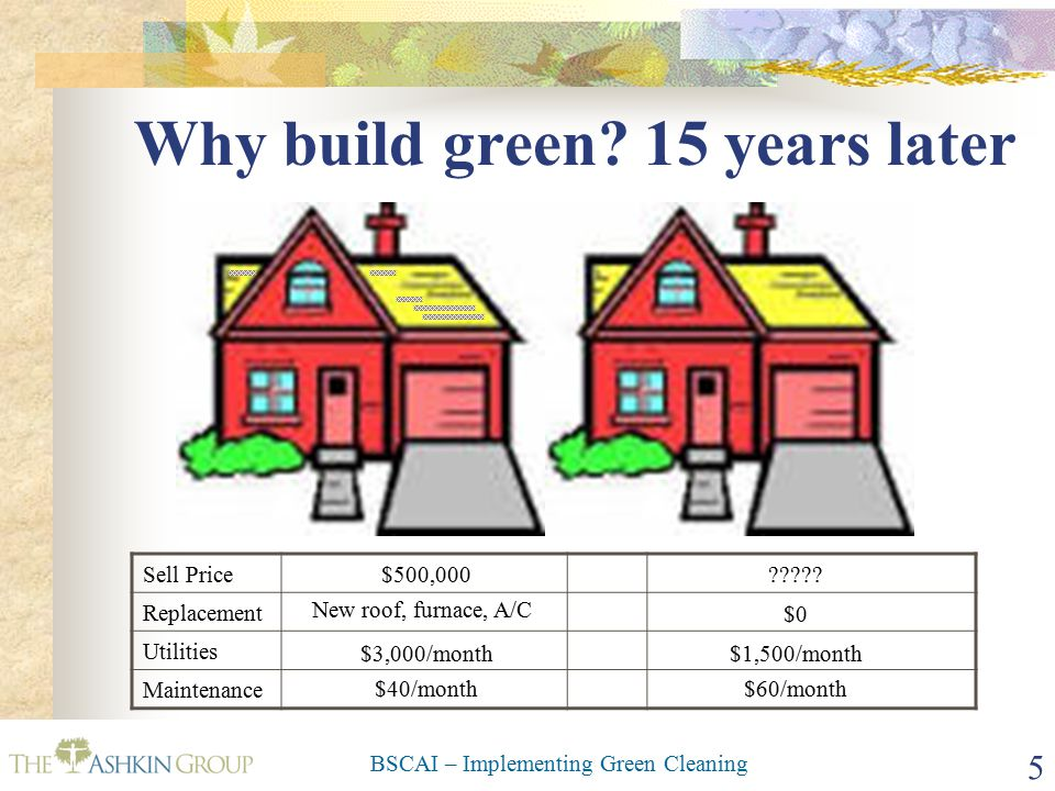 BSCAI – Implementing Green Cleaning 5 Why build green.