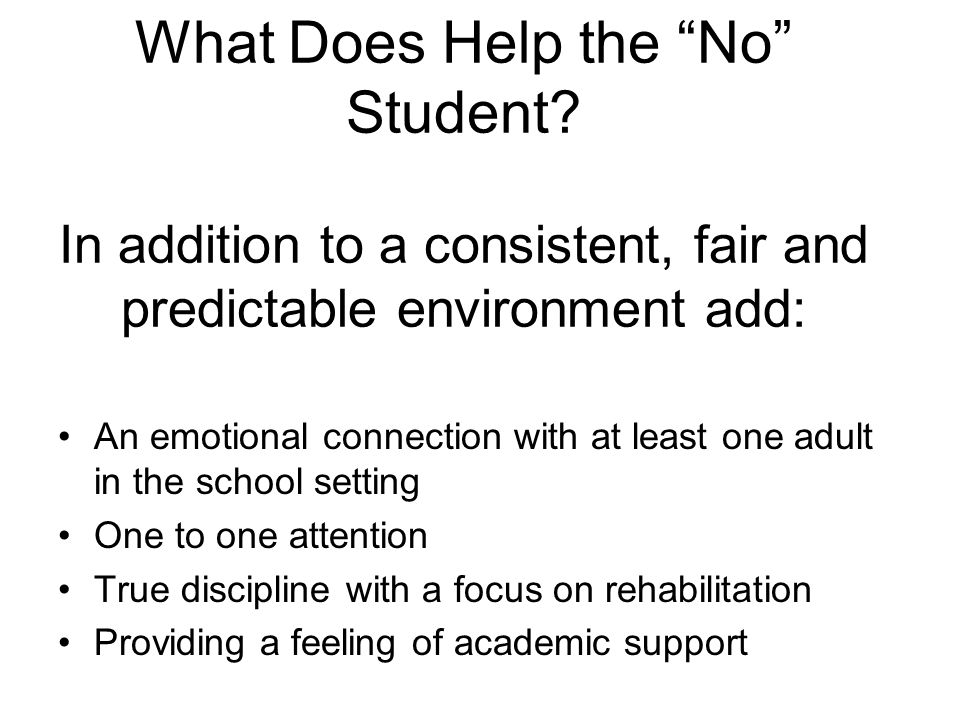 What Does Help the No Student.