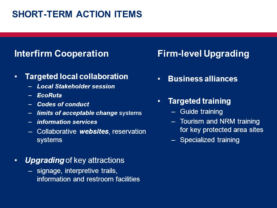 SHORT-TERM ACTION ITEMS Interfirm Cooperation Targeted local collaboration –Local Stakeholder session –EcoRuta –Codes of conduct –limits of acceptable