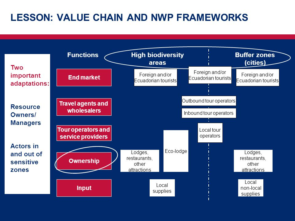 LESSON: VALUE CHAIN AND NWP FRAMEWORKS Ownership Functions Input Tour operators and service providers Travel agents and wholesalers End market Buffer