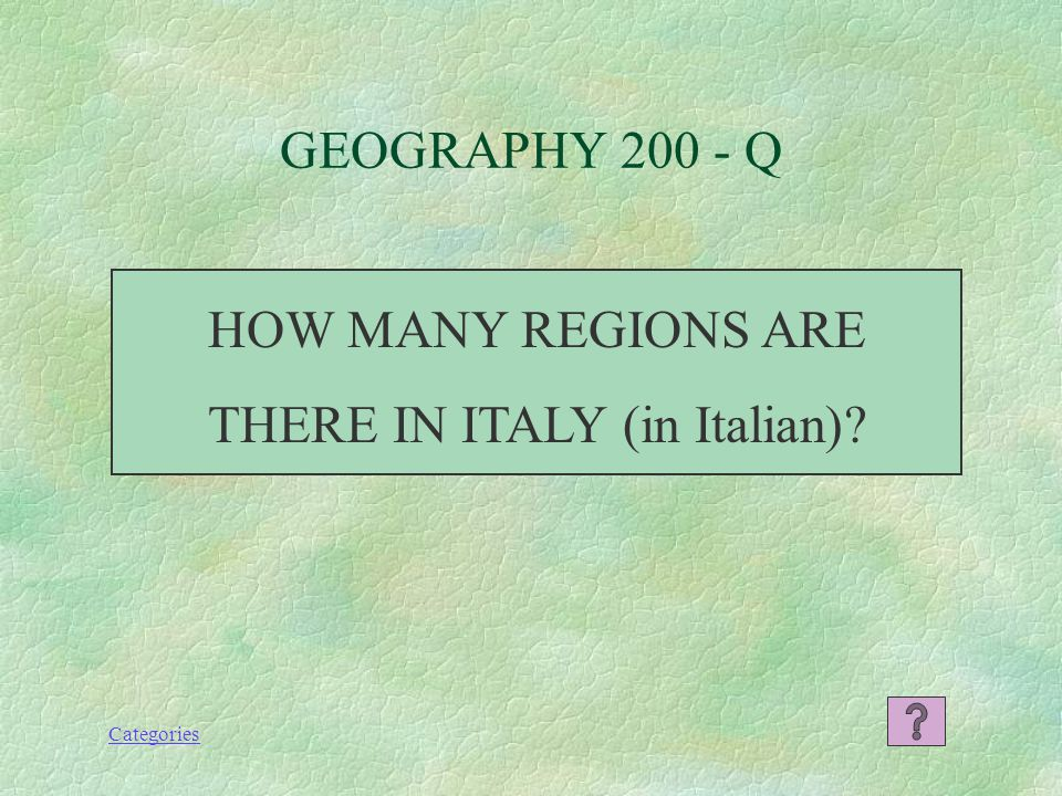 Categories GEOGRAPHY 100 - A NORD, CENTRO, SUD