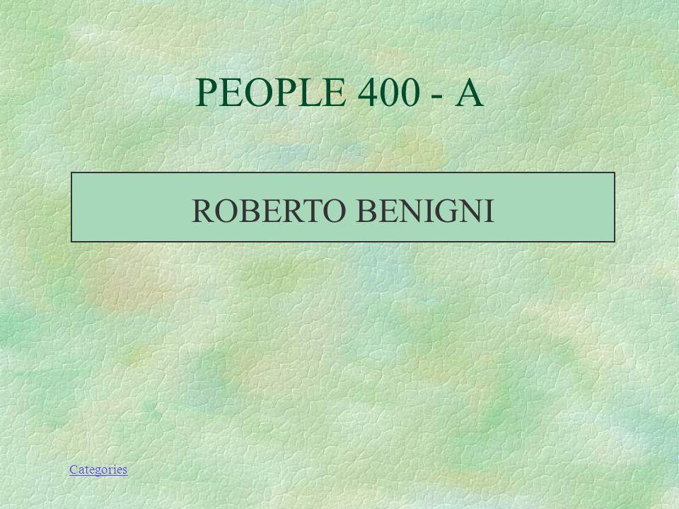 Categories WHO DIRECTED LA VITA E BELLA PEOPLE 400 - Q