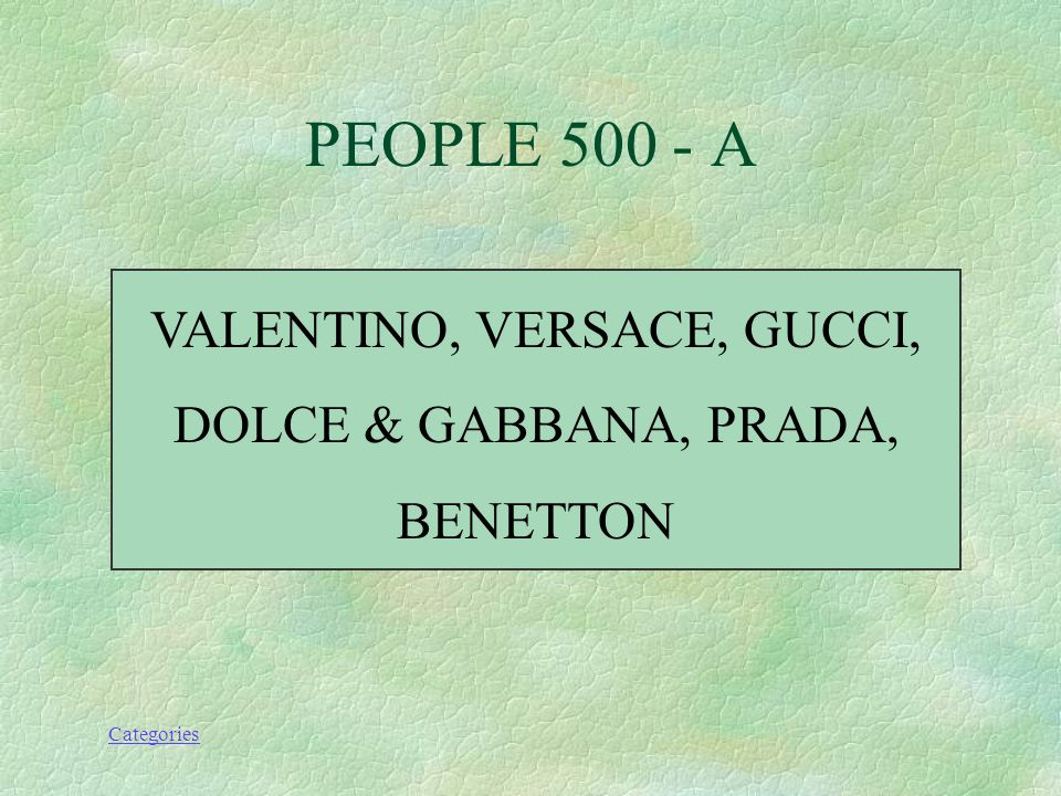 Categories NAME AT LEAST THREE OF THE FASHION DESIGNERS WE MENTIONED IN CLASS. PEOPLE 500 - Q