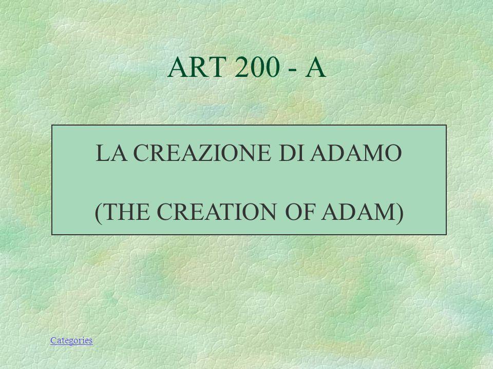 Categories LA CREAZIONE DI ADAMO (THE CREATION OF ADAM) ART 200 - A