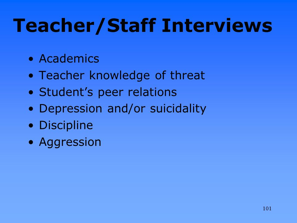 Teacher/Staff Interviews Academics Teacher knowledge of threat Student's peer relations Depression and/or suicidality Discipline Aggression 101