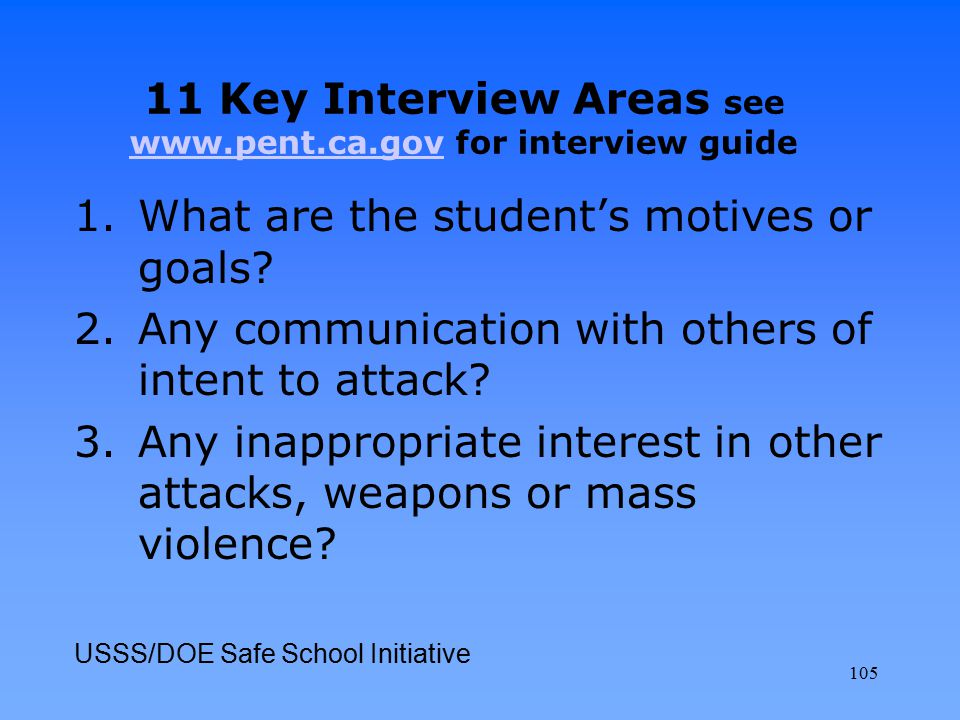 1.What are the student's motives or goals? 2.Any communication with others of intent to attack? 3.Any inappropriate interest in other attacks, weapons