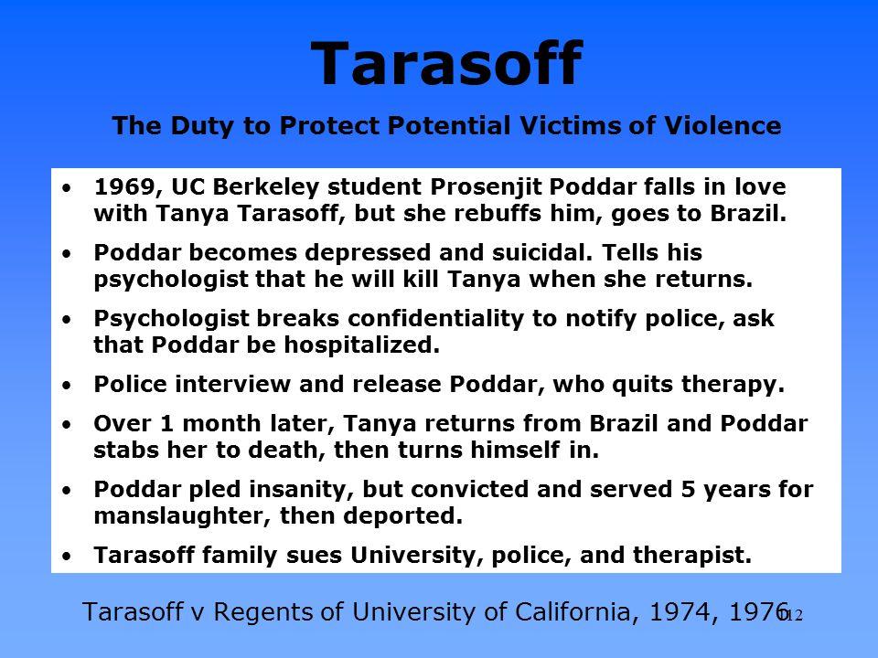 Tarasoff The Duty to Protect Potential Victims of Violence Tarasoff v Regents of University of California, 1974, 1976 1969, UC Berkeley student Prosen