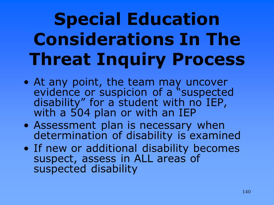 """Special Education Considerations In The Threat Inquiry Process At any point, the team may uncover evidence or suspicion of a """"suspected disability"""" fo"""