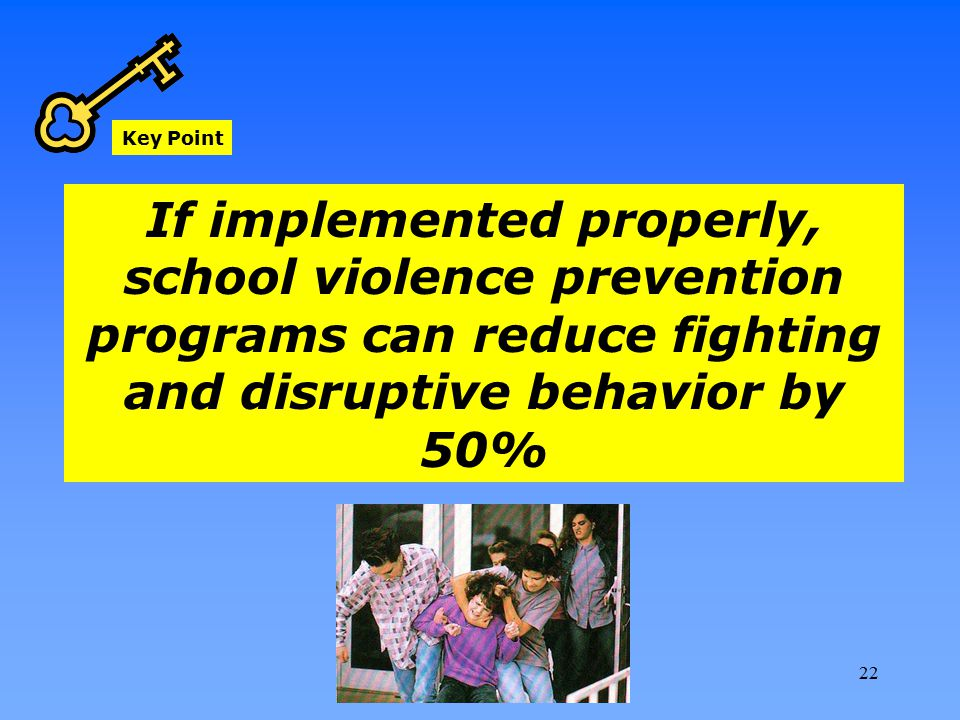 Key Point If implemented properly, school violence prevention programs can reduce fighting and disruptive behavior by 50% 22