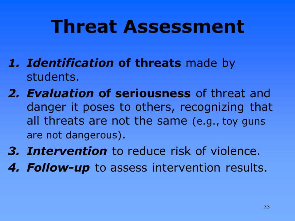 Threat Assessment 1.Identification of threats made by students. 2.Evaluation of seriousness of threat and danger it poses to others, recognizing that