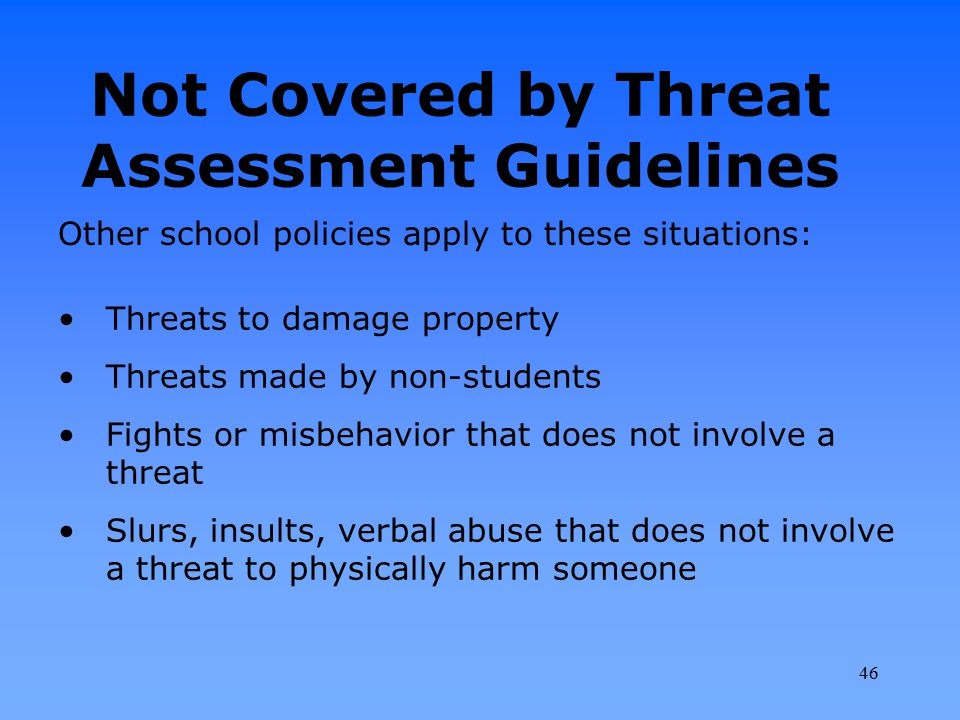 Not Covered by Threat Assessment Guidelines Threats to damage property Threats made by non-students Fights or misbehavior that does not involve a thre