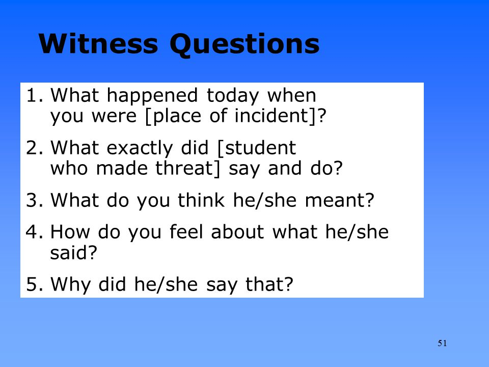 1.What happened today when you were [place of incident]? 2.What exactly did [student who made threat] say and do? 3.What do you think he/she meant? 4.