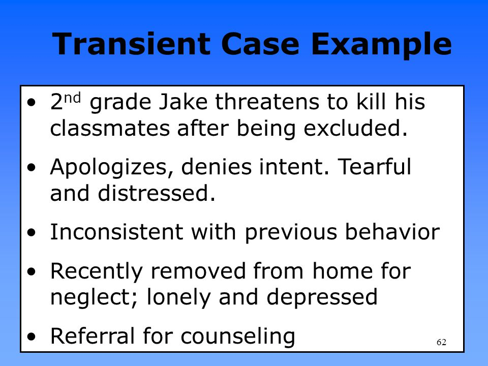Transient Case Example 2 nd grade Jake threatens to kill his classmates after being excluded. Apologizes, denies intent. Tearful and distressed. Incon