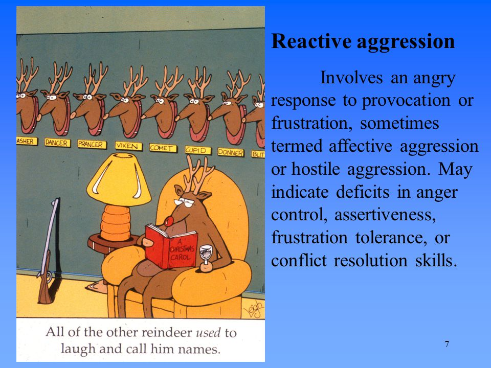 Instrumental aggression Use of aggression to attain a goal, often in the absence of anger or provocation.