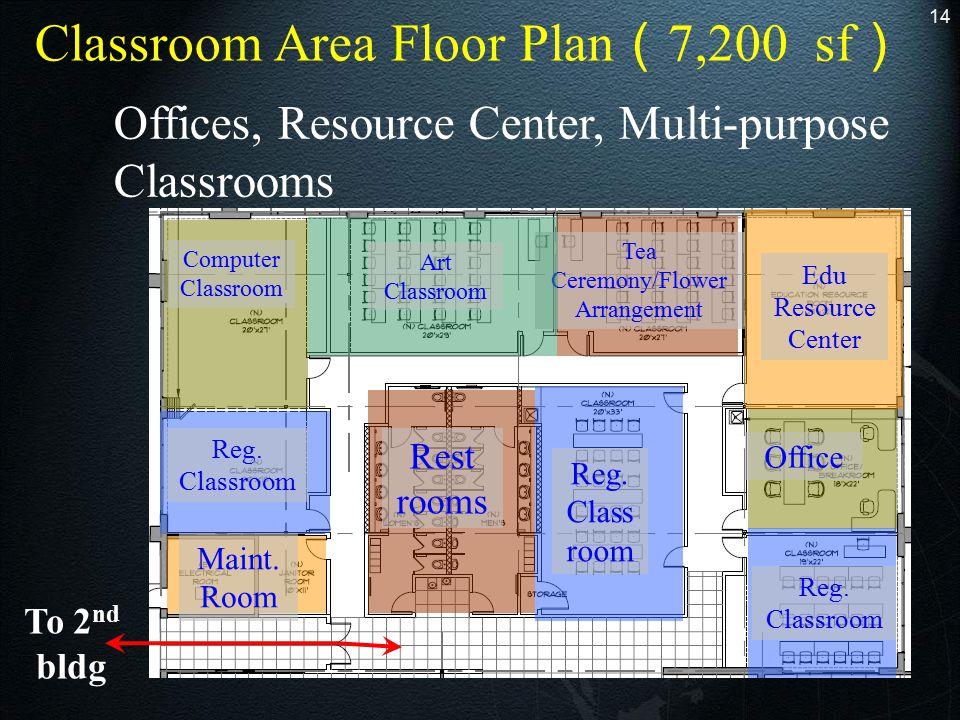 14 To 2 nd bldg Office Edu Resource Center Reg. Classroom Tea Ceremony/Flower Arrangement Art Classroom Computer Classroom Reg. Classroom Rest rooms M